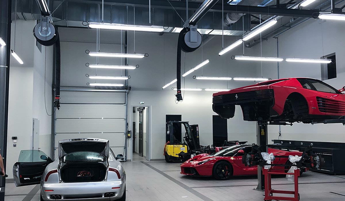 Système d'extraction des gaz d'échappement WORKY - Atelier Ferrari SF Grand Est