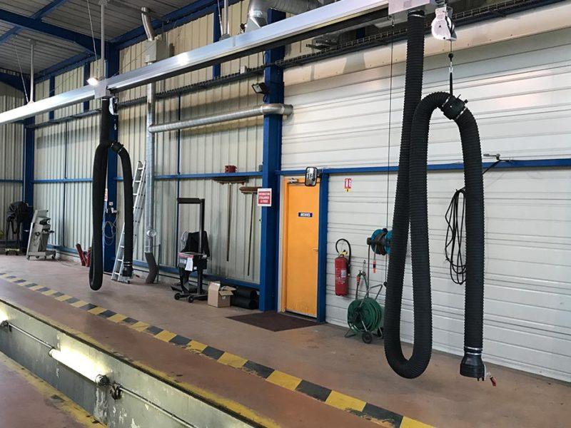 Chariots coulissants pour extraction de gaz d'échappement - Contrôle technique