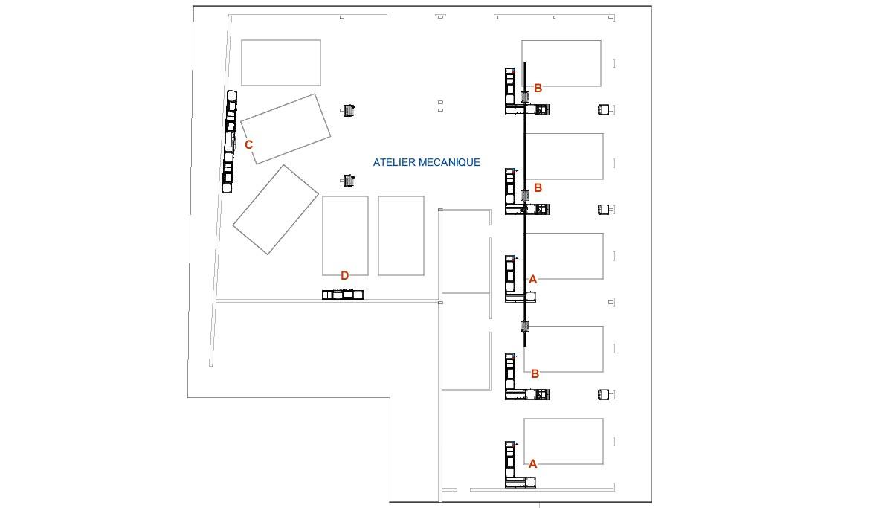 Plan 2D aménagement atelier auto Zone mécanique - LK