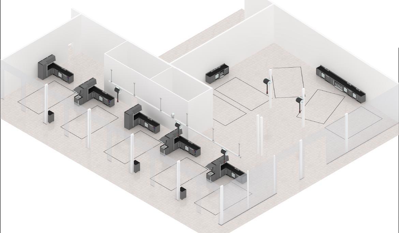 Plan 3D aménagement atelier auto Zone mécanique - LK